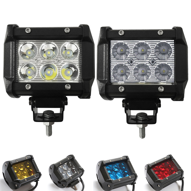 2pcs 4inch 18W Led Work Light 12V 24 Driving Lamp 4D 5D Lens Offroad Led Light Bar 6500 White Yellow Blue Red Car Off Road 4x4WD