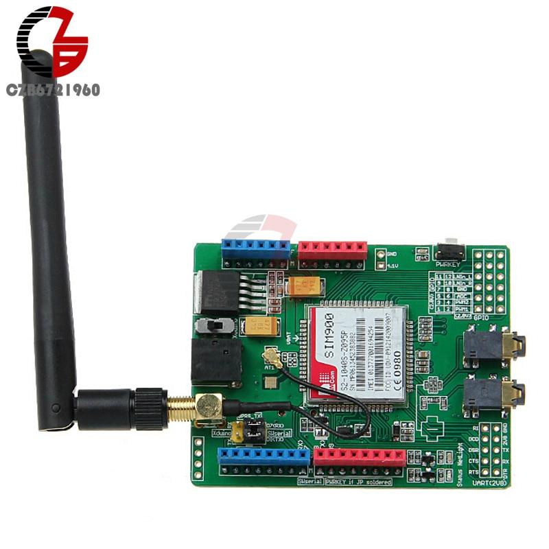 SIMCOM SIM900 Module Quad Band Wireless GSM GPRS Shield Development Board with SIM Card Holder + Antenna For Arduino m35 gsm gprs cell phone development board module w voice interface antenna blue