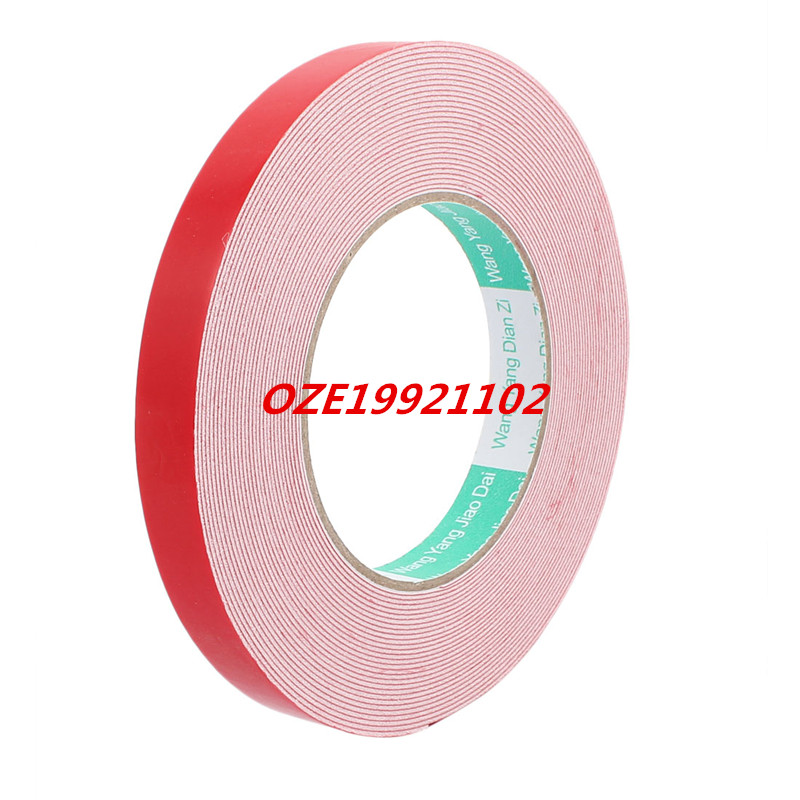 10M 15mm x 1mm Dual-side Adhesive Shockproof Sponge Foam Tape Red White 1pcs 45mm x 5mm single sided self adhesive shockproof sponge foam tape 3 meters