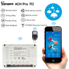 Sonoff 4CH Pro RF Wifi Smart Switch 4 Gang 433MHZ Mounting Wireless Control Wi-fi Smart Switch Home Light Remote 10A 2200W Alexa
