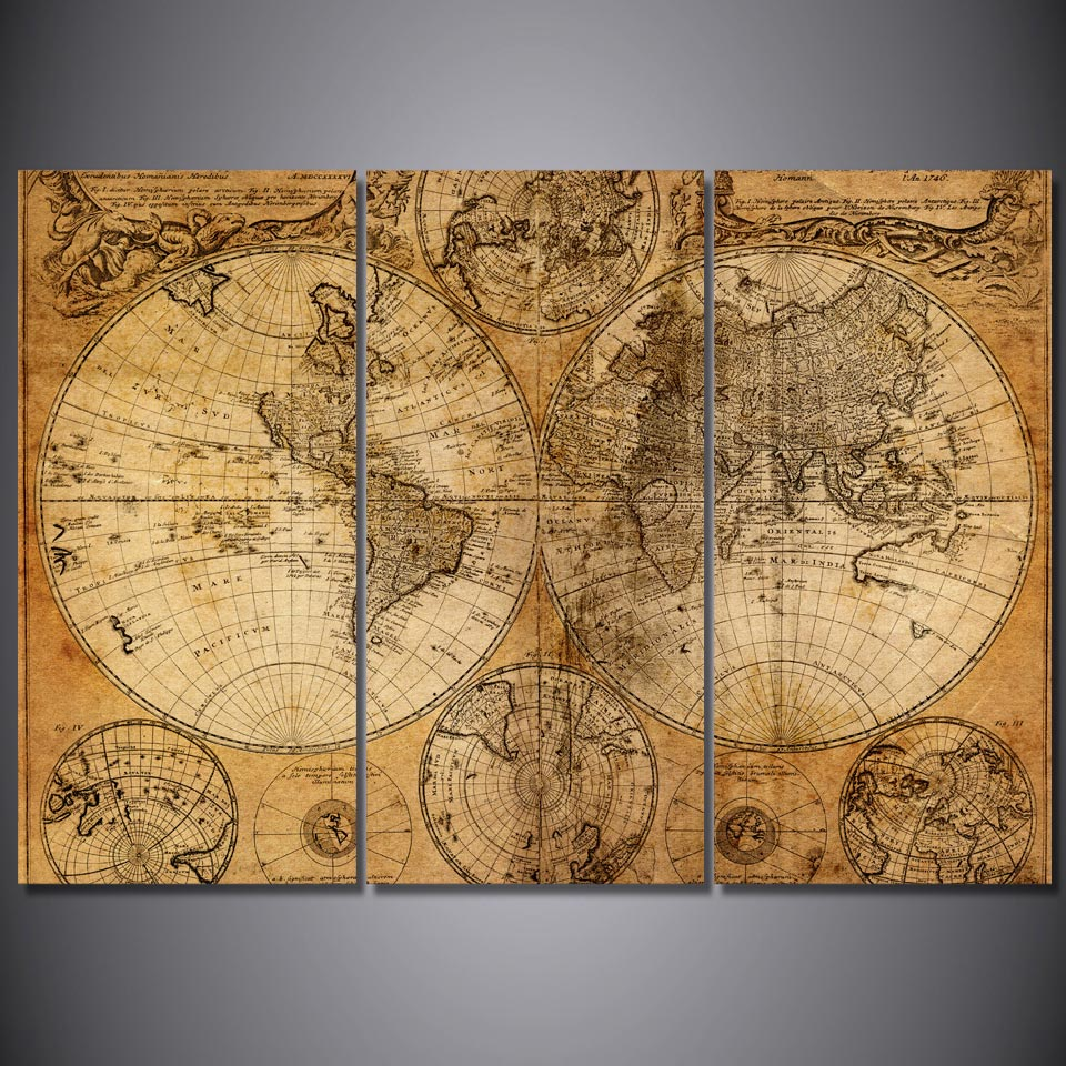 3 pcs set framed hd printed retro old world map picture wall art print room decor poster still. Black Bedroom Furniture Sets. Home Design Ideas