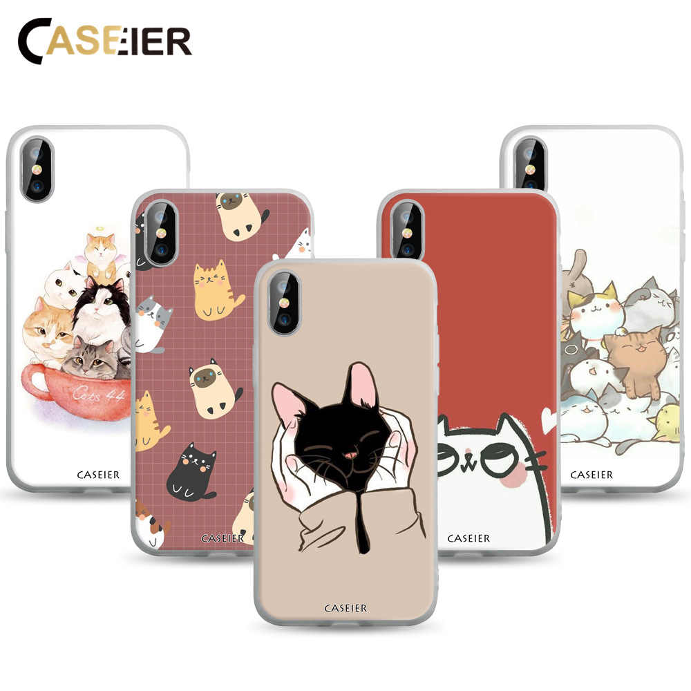 CASEIER Lovely Cat Phone Case For iphone X XS MAX XR 7 8 Matte Case Bag For iphone 7 8 6 6s 5 5s se Back Cover Fundas Sheel Capa