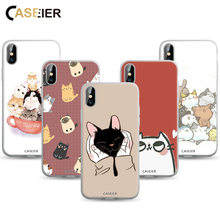 Caseier Kucing Indah Phone Case untuk iPhone X XS Max XR 7 8 Matte Case Casing untuk iPhone 7 8 6 6 S 11 Pro Max Cover Fundas Shell Capa(China)