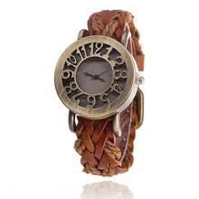 MINHIN Retro Style Leather Woven Strap Bracelet Watch Hollow Dial Delicate Gift Quartz Wristwatches For Ladies