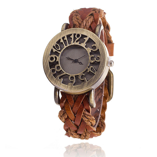 MINHIN Retro Style Leather Woven Strap Bracelet Watch Hollow Dial Delicate Gift