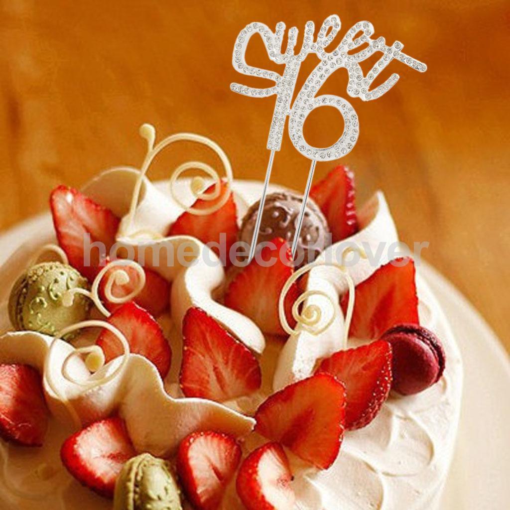 16th Happy Birthday Sweet 16 Crystal Cake Topper Insert Plug