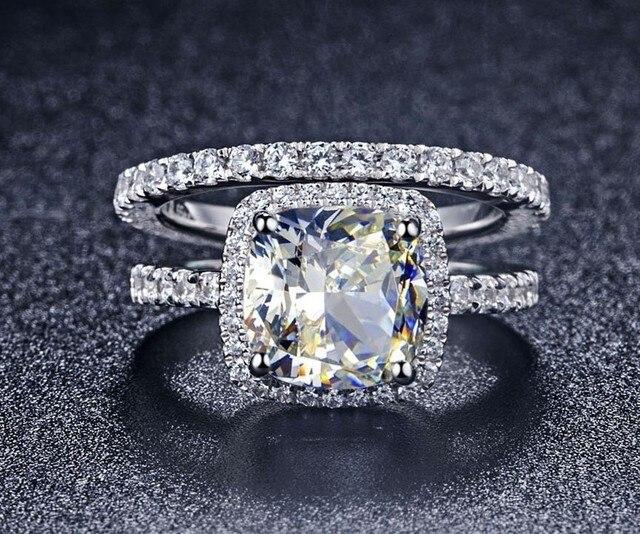 Statement Por Halo Style Princess Cut 1carat Sona Diamond Engagement Wedding Ring Solid Sterling Silver