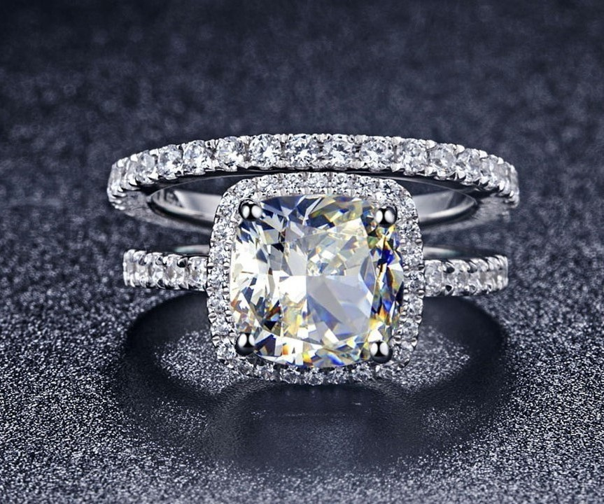 statement popular halo style princess cut 1carat sona diamond engagement wedding ring solid sterling silver ring