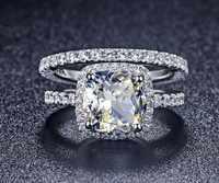 ステートメント人気haloスタイルプリンセスカット1カラットsonaダイヤモンドの婚約結婚指輪固体スターリングシルバーリング付きボックス
