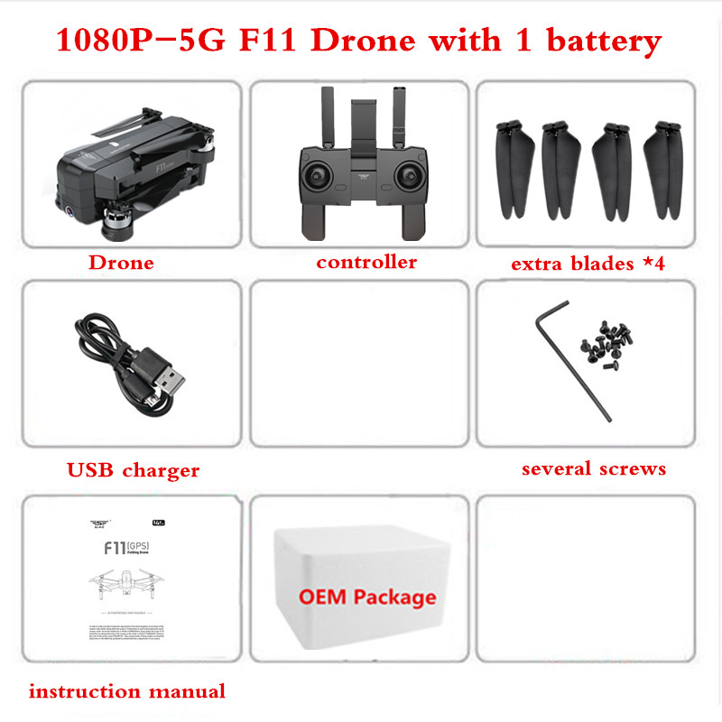 SJRC F11 GPS Drone with 1080P Camera Quadrocopter with Camera Brushless 28min Flight Time Quadcopter Original Battery Propeller