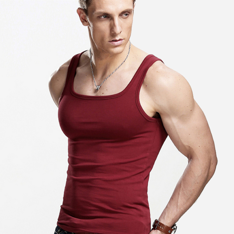 52cab934cfc9a7 Hot Sales Fitted Fit Square Collar Cotton Body Building Tank Top Men For Fashion  And Causal