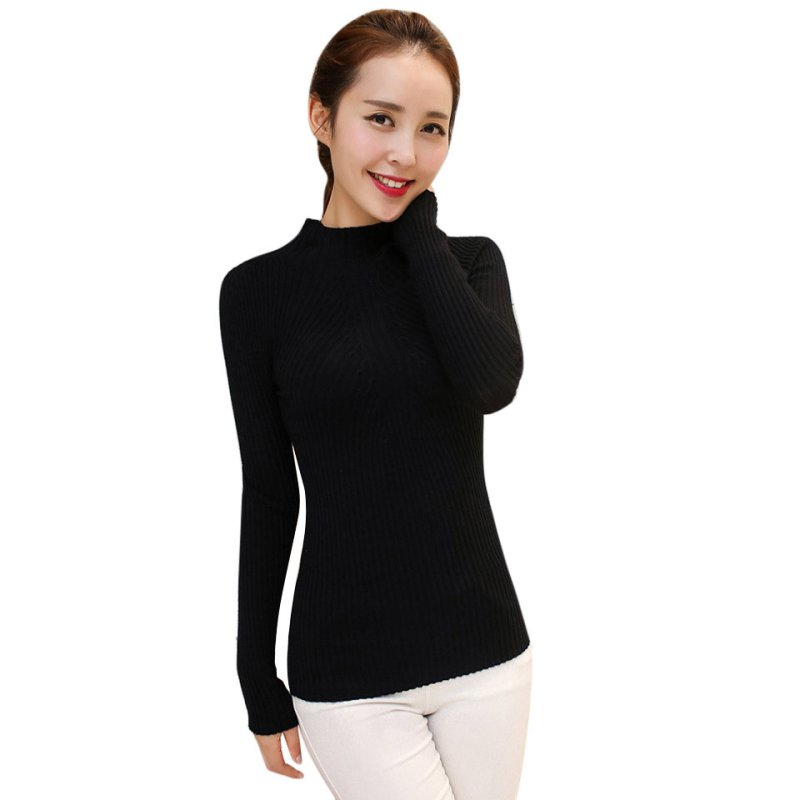 Spring Autumn Winter Fashion Women Sweater High Elastic Solid ...