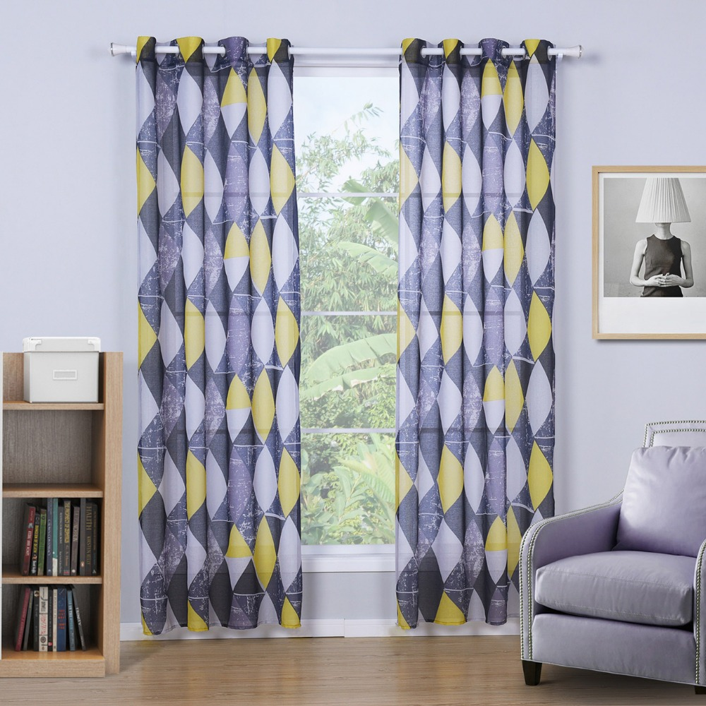 black yellow curtains for the living room printed geometric curtains for the bedroom flat. Black Bedroom Furniture Sets. Home Design Ideas