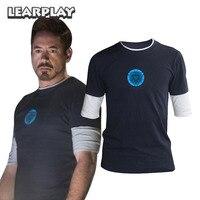 הלילה זוהר בצבע כחול כהה חולצה איש ברזל 3 טוני סטארק אמצע שרוול חולצה בסיסית טי צמרות לוגו כחול