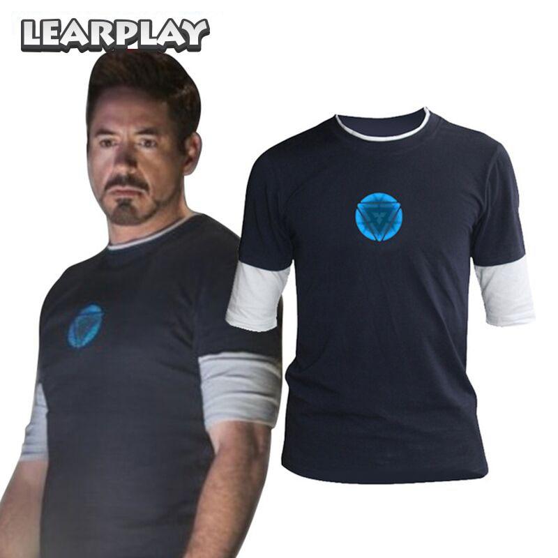 Iron Man 3 Tony Stark Navy Blue T-shirt Night Luminous Mid Sleeve T Shirt Basic Tee Logo Tops Soft Fitness Tight Costume For Men
