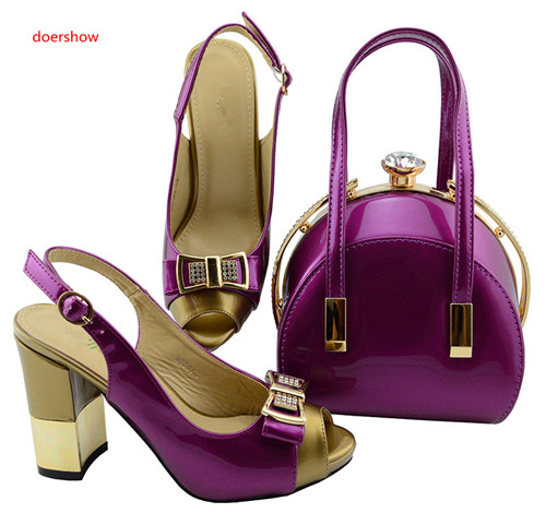 doershow Newest African Women Matching Italian Design Shoe and Bag Set for Wedding Italian Shoes with Matching Bags  SBL1-18