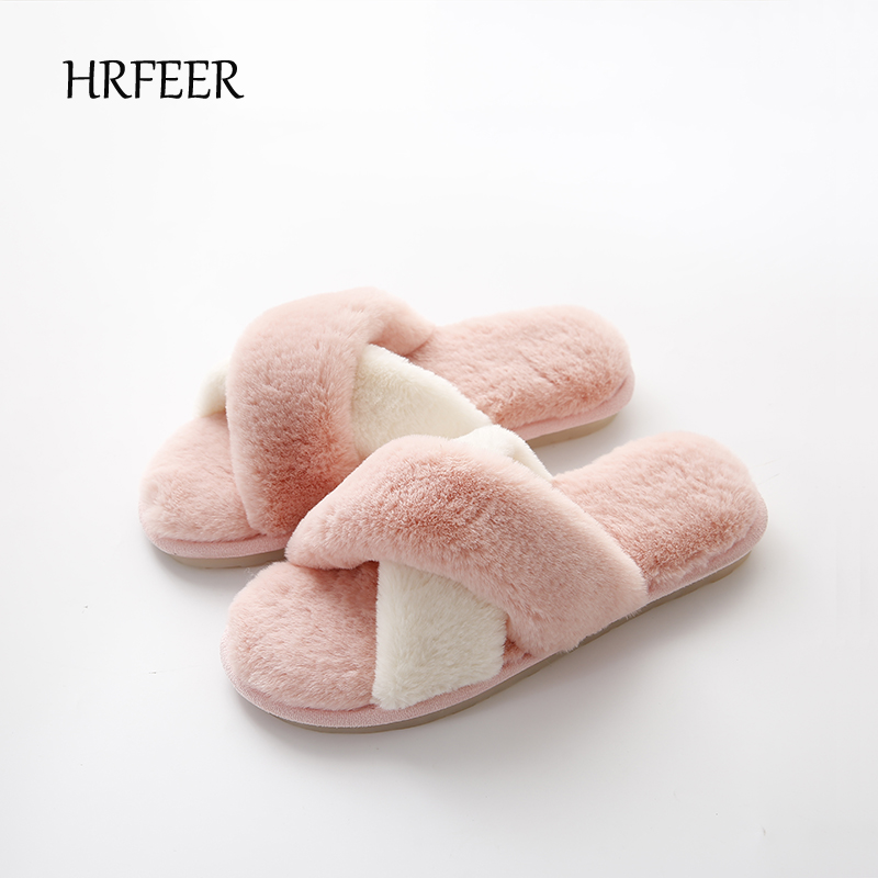 HRFEER Women Slippers Winter Home Shoes Sweet Rabbit Hair Flat Shoes Woman Indoor Slippers Fur Warm Soft Slip On Female Slippers brand women flats shoes real rabbit fur slippers plus size winter autumn warm female flat heel slip shoes casual home slippers30