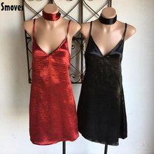 Smoves Women Sexy Deep V Neck Back Strappy Cross Choker Neck Silk Satin Slip Dress A-Line Shinning Party Dresses Vestidos New