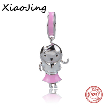 100% 925 Sterling Silver Fit Pandora Bracelets DIY Pendant Hot Sale charms Dancing Girl Pink Enamel Beads Jewelry making Gifts hot sale 925 sterling silver charms dog footprint beads with cz stone fit pandora bracelets pendant diy jewelry making gifts
