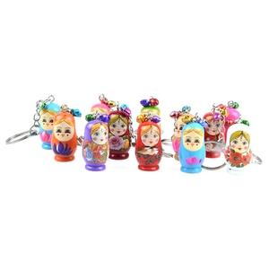 12 Uds llaveros creativos Matrioska de madera muñecas rusas llaveros