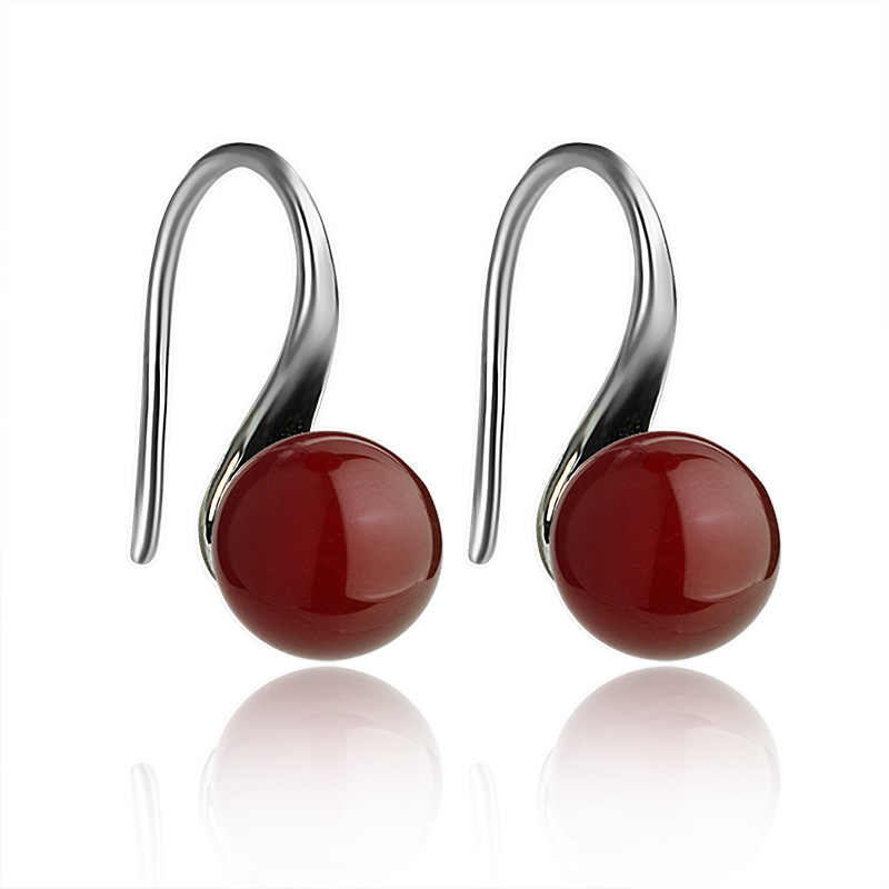LE SKY Natural Fashion Earrings Bead Shape Red  carnelian Drop Earrings Fine Jewelry Gift for Woman