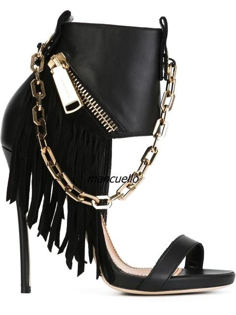 04a1a1240999ab Unique New Design Chain Decorated Fringe Sandals Stylish Women Black PU  Leather Fake Zip Tassel Stiletto