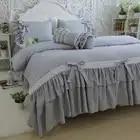 Корейский хлопок постельное белье набор большой лист лотоса вышитые кружева набор Роскошная принцесса пододеяльник