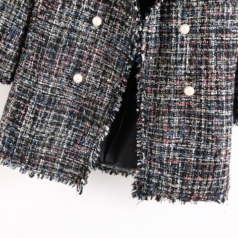 Fresh style Spring/Autumn female casual jacket coat hand-tassel loose coat checkered Tweed coat jacket lapel thick jacket Karachi