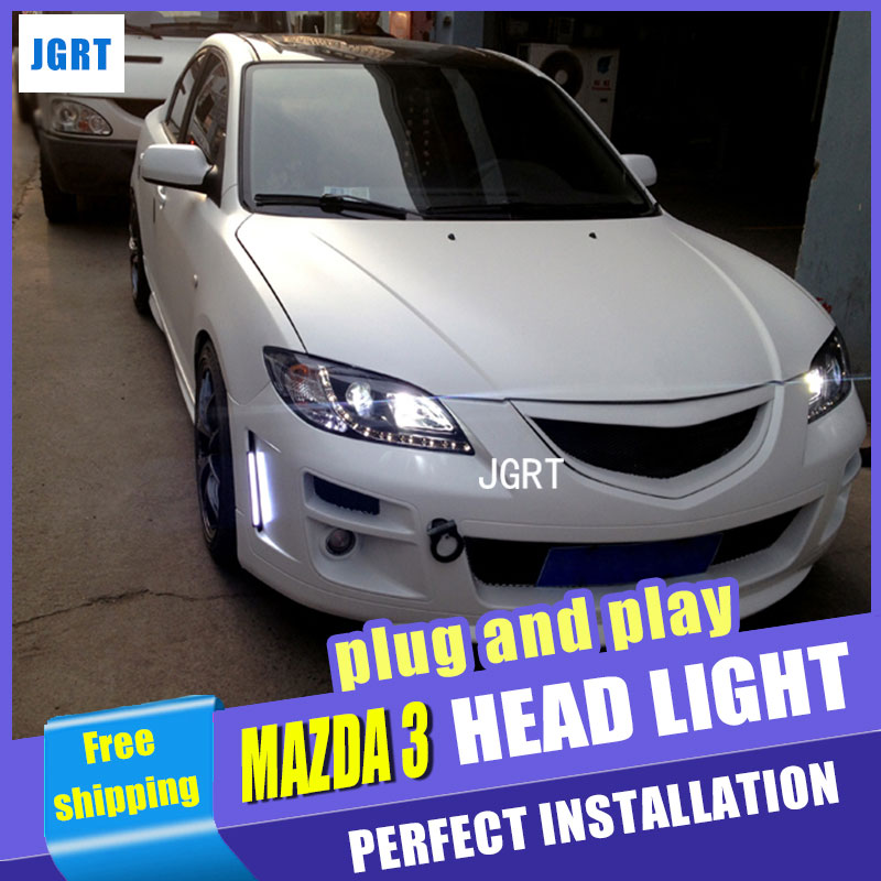 Car Styling Headlight assembly 2006-2012 for Mazda 3 DoubleU Angel Eye LED DRL Lens Double Beam H7 hid kit with 2pcs. hireno headlamp for 2015 2017 hyundai ix25 crete headlight headlight assembly led drl angel lens double beam hid xenon 2pcs