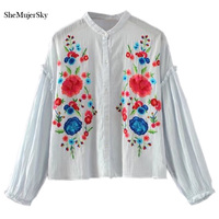 SheMujerSky Embroidery Women Blouses 2017 Tops Shirts Summer Long Sleeve Ruffles Blusas Womens Clothing