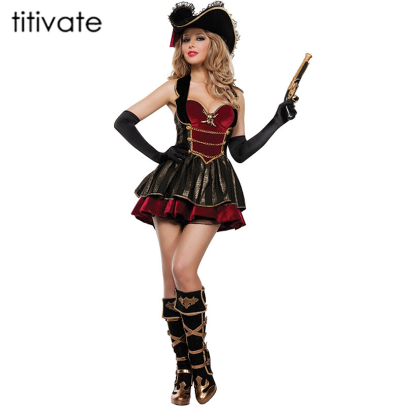 TITIVATE Adult Women Pirates of the Caribbean Costume Female Pirate Fancy Dress Pirates Costumes for Halloween S,M,L,XL pirates of the caribbean at world s end level 3 cd