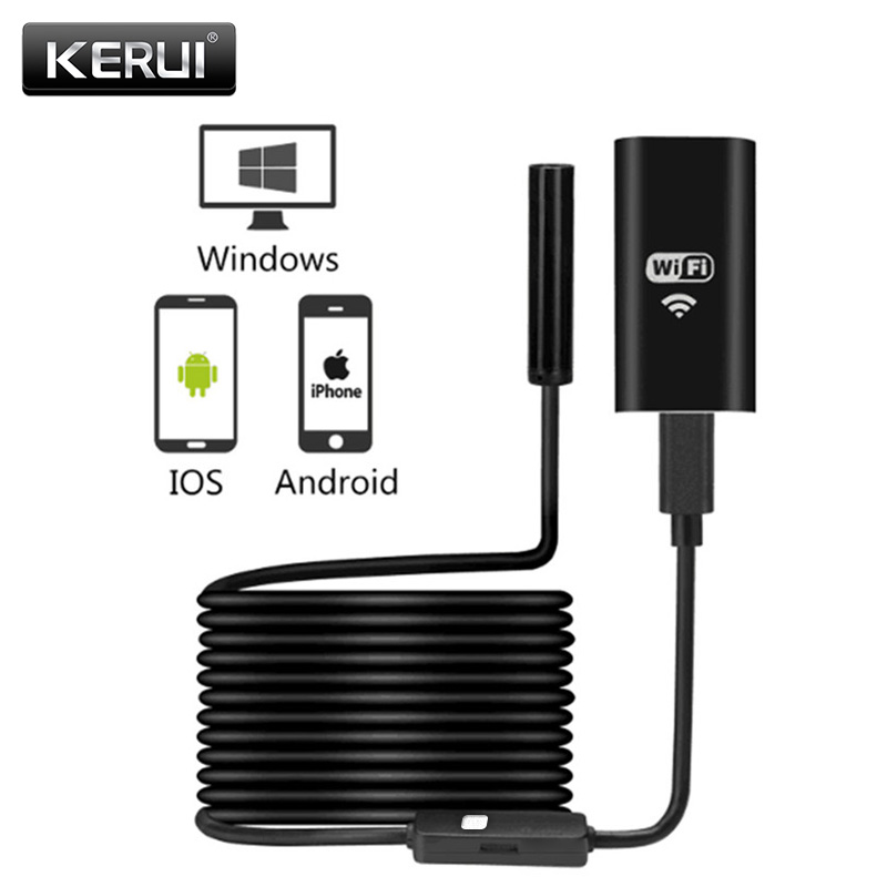 KERUI WIFI endoscopio Mini cámara impermeable suave Cable de cámara de inspección 8mm 1 M USB del endoscopio de boroscopio de IOS endoscopio para iphone