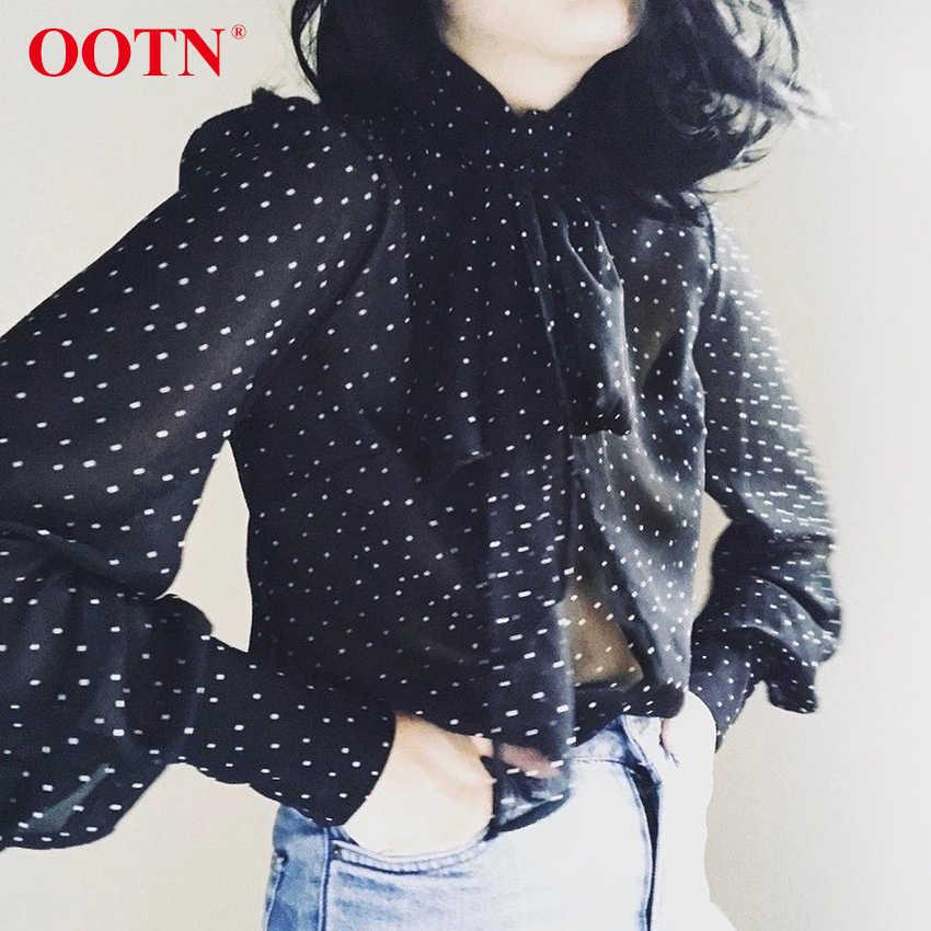 Женская блузка в горошек OOTN, черная элегантная прозрачная блузка с длинными рукавами, лето 2020