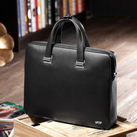 BVP Famous Brand High Quality Men Portable Briefcase Genuine Leather Laptop Bag Business Black Real Leather