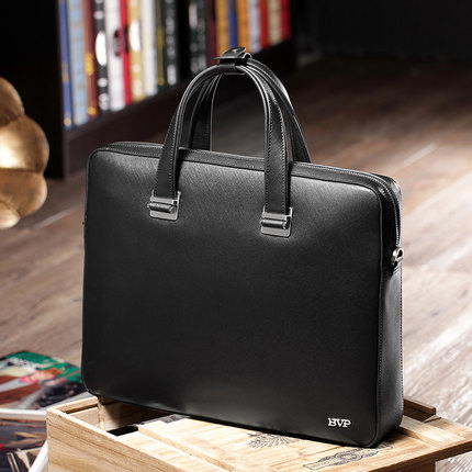 BVP Famous Brand High Quality Men Portable Briefcase Genuine Leather Laptop Bag Business Black Real Leather Male Zipper Bag J40