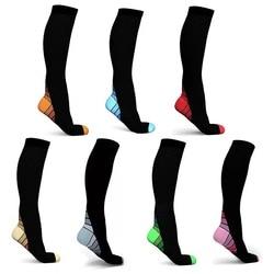Мужские эластичные Компрессионные носки выше колена в полоску, спортивные длинные носки до лодыжки, женские Компрессионные носки