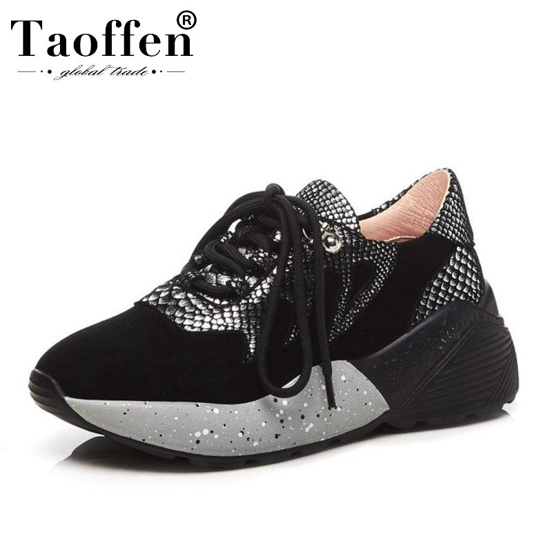 TAOFFEN Women Sneaker Real Leather Patchwork Snake Pattern Casual Wedges Shoes Women Strap Vulcanized Walk Shoes Size 35-39TAOFFEN Women Sneaker Real Leather Patchwork Snake Pattern Casual Wedges Shoes Women Strap Vulcanized Walk Shoes Size 35-39