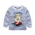 Детская одежда 2017 весной и осенью ребенок с длинными рукавами девушки парни футболки ребенок флот полосой мультфильм 100% хлопок основной рубашка
