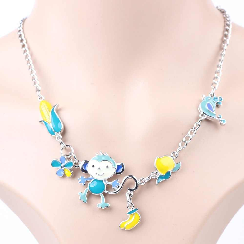 Bonsny Statement Necklace Monkey  Enamel Flower Alloy Long Chain Pendants 2016 New Jewelry For Women Charm Collares Accessories