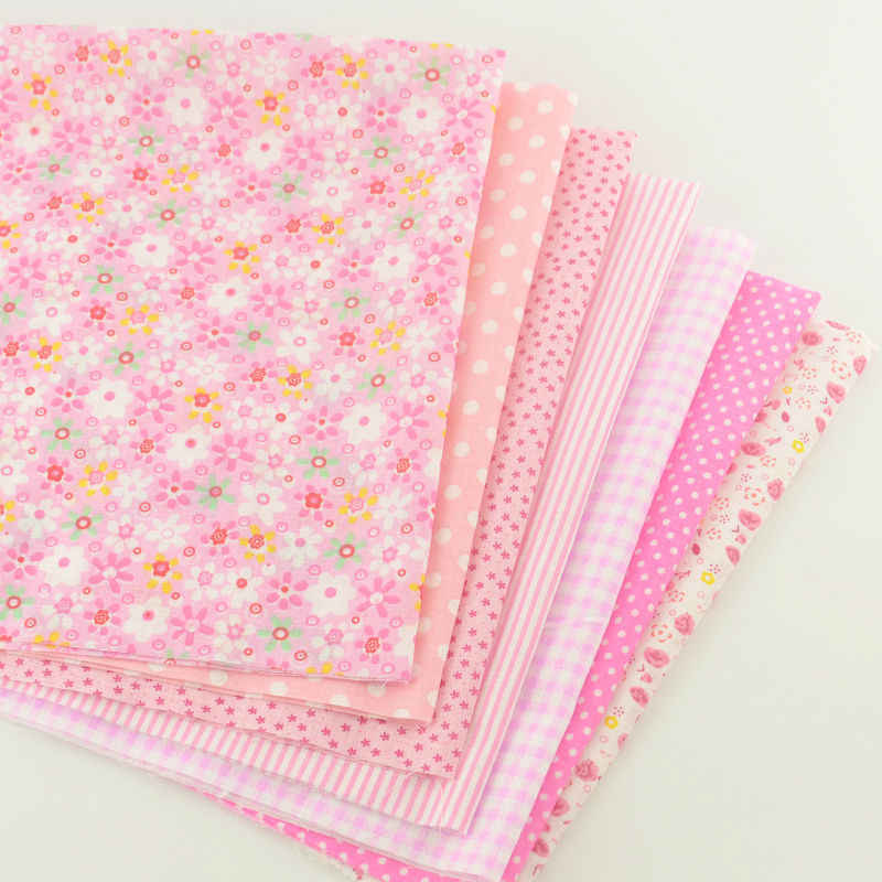 New Pink Floral Pattern Pretty Light Pink Color Sets 7PCS/lot Cotton Fabric Patchwork Quilting Plain Sewing Home Textile Curtain