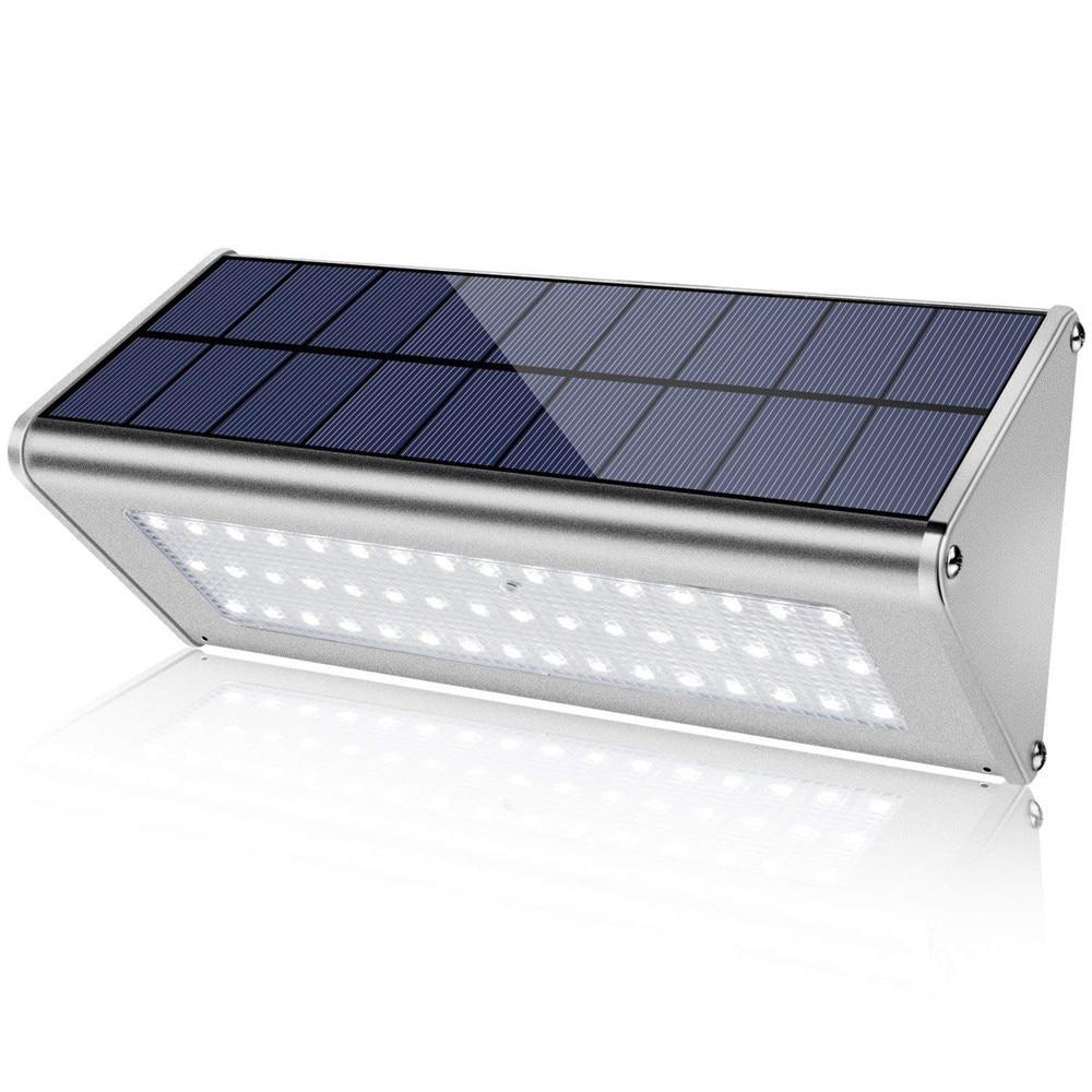 fényes 48leds napfényes kültéri mikrohullámú radar érzékelő Vízálló energiatakarékos fali lámpa, napelemes lámpák kerti díszítéshez