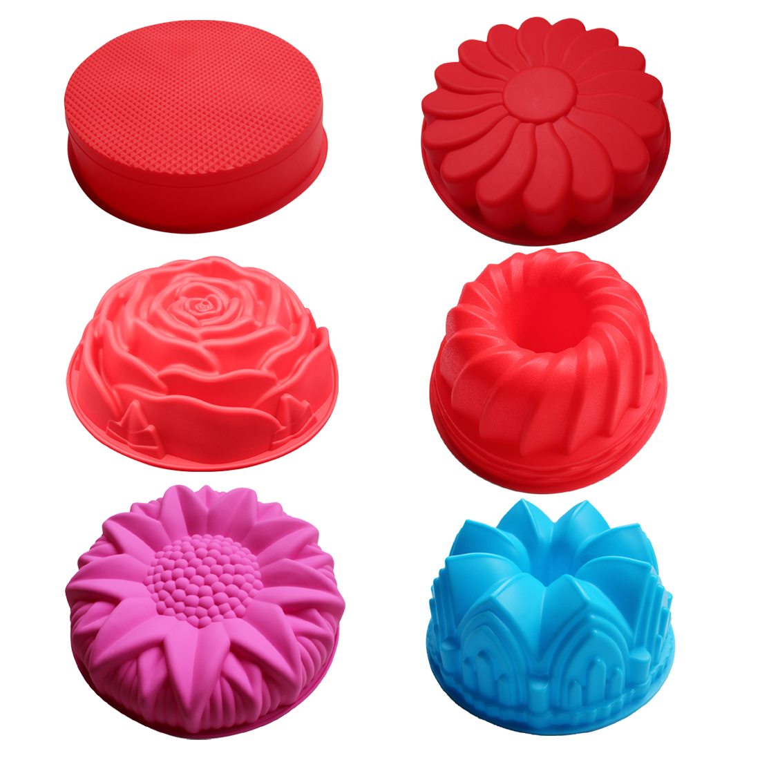 BAKER DEPOT Silicone Mold for big Cake Flower Crown shape psatry Baking Tools 3D Cake cake form Pizza Pan DIY birthday wedding
