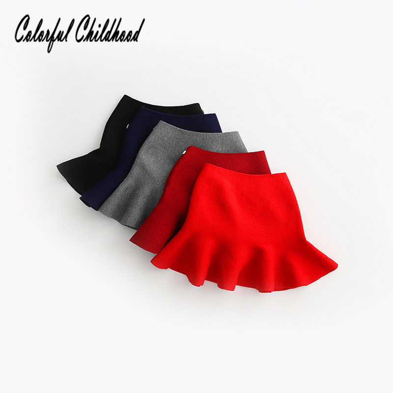 Adorable pleated tutu skirt children winter clothes warm cozy knitting bottoming skirt toddler baby girls clothing 2-6Yrs