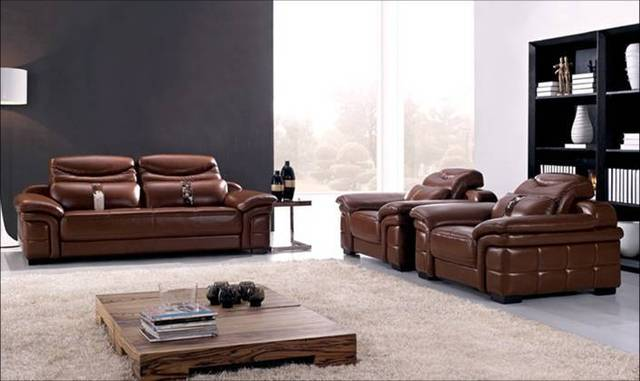Free Shipping Sofa Large Size New Genuine Leather Modern Sectional Set 1