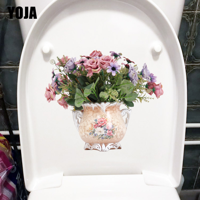 YOJA 23.6X20.2CM Delicate Vase Living Room Wall Sticker Decor Home WC Toilet Seat Decal T1-1959