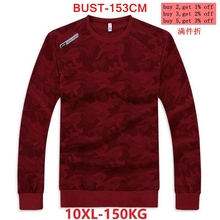 Mens large size sweatshirt long sleeve round neck loose 6XL 7XL 8XL 9XL 10XL casual camouflage black blue boy sweatshirt