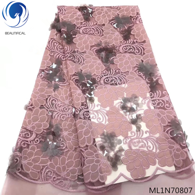 BEAUTIFICAL embroidery velvet lace tulle lace fabric african velvet lace fabric with sequins for bridal dress ML1N708