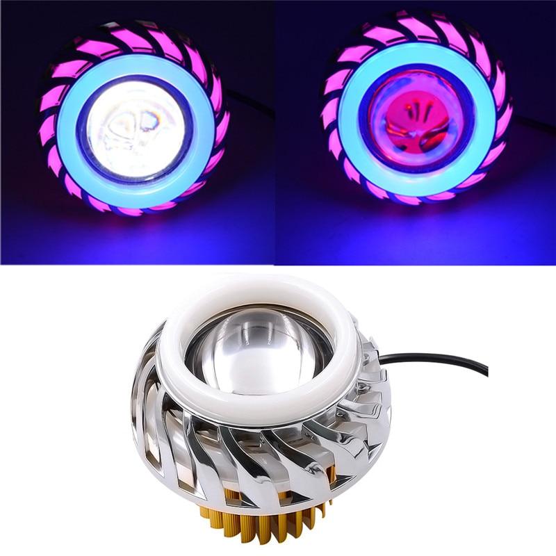 Motorcycle Headlight High/Low Beam LED Headlight For Motorcycle Angel Eyes White Devil Eye light dropship 19j9