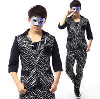 Черный персонализированные певица блейзеры этап рок пиджак мужской костюм модные костюмы для мужчин пиджак masculino Настраиваемые