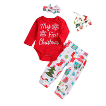 Christmas Clothes Newborn Baby Girl Boy Tops Long Sleeve Romper Pants Outfit Set 2019